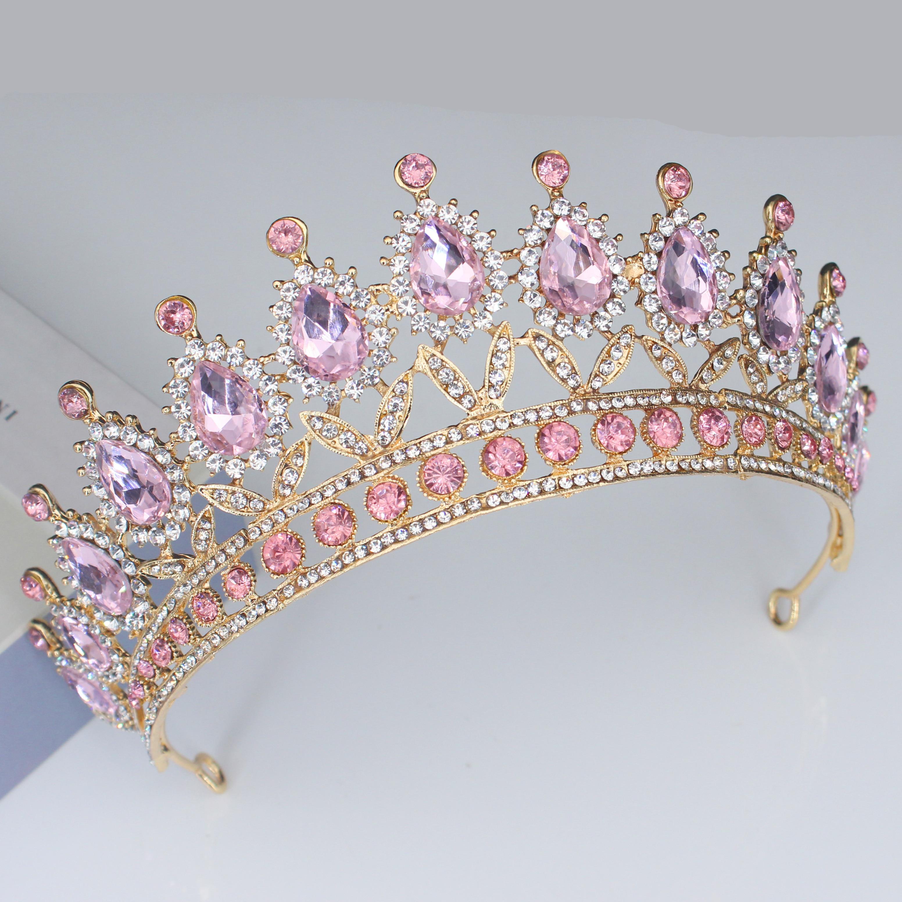 Kristall Rosa Königin Prinzessin Tiaras und Kronen Braut Stirnband Frauen Mädchen Prom Party Diadem Hochzeit Haar Schmuck Zubehör