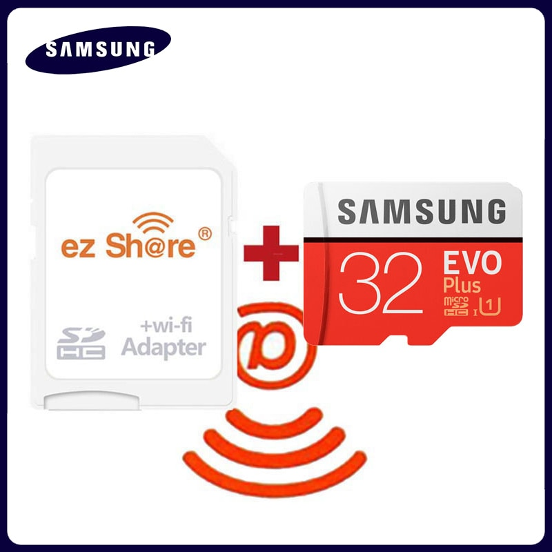 Adaptateur wifi ez share sans fil + Samsung EVO plus, carte Micro SD classe 10, 32 go 64 go 128 go TF, carte mémoire