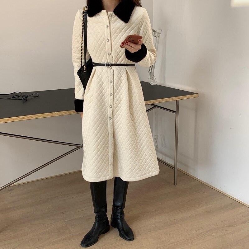 معطف شتوي أسود طويل مستقيم مع نمط المعين وشاحات غير رسمية للنساء باركاس جيوب عميقة مصممة ياقة أنيقة ملابس خارجية