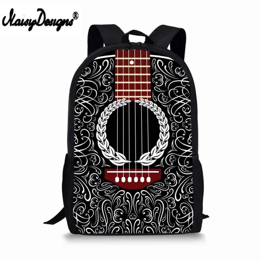 Bolsas escolares con estampado de guitarra acústica mochilas geniales para niñas adolescentes Kawaii bolso de hombro para niños Mochila GRANDE Bolsos