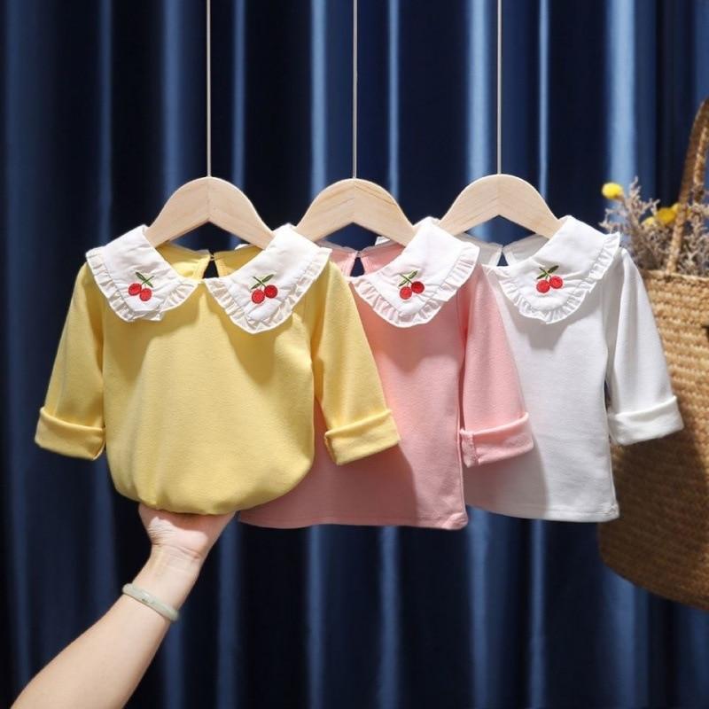 Criança meninas blusa peter pan colarinho bonito cereja 2021 primavera moda crianças roupas infantis camisa plissado topos para o bebê