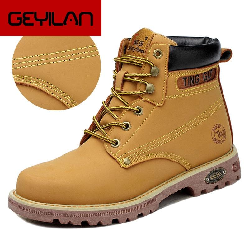 Botas para hombre, puntera de acero, botas de seguridad para trabajo, zapatos de alta calidad, zapatos de seguridad antiperforación, botas militares, botas de trabajo para hombre 39 S
