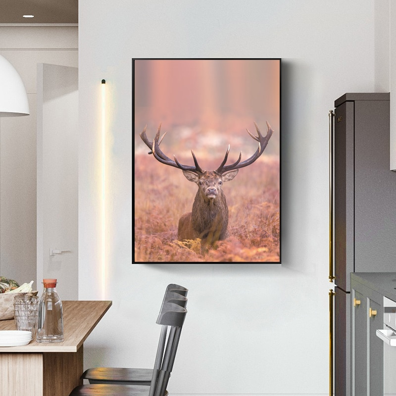 Natural Animal Landscape Wall Painting Hd Photography Elk Printed Canvas Frameless Home Living Room Decoration Poster  - buy with discount