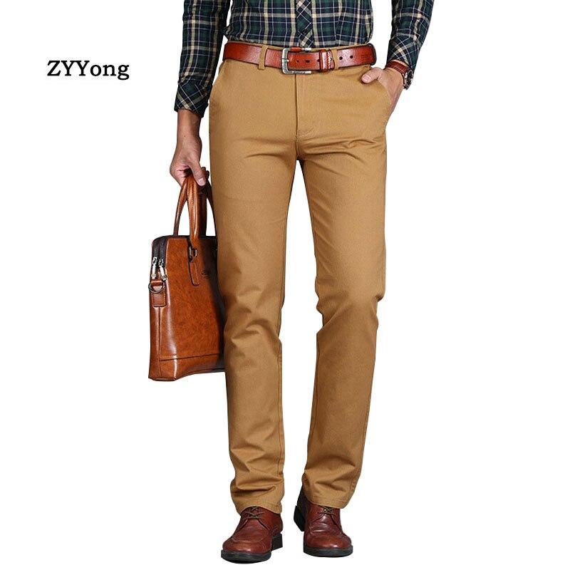 Nuevos pantalones para hombre, Pantalones rectos sueltos informales, pantalones de oficina de algodón a la moda de talla grande para hombre, pantalones de negocios verde marrón gris negro