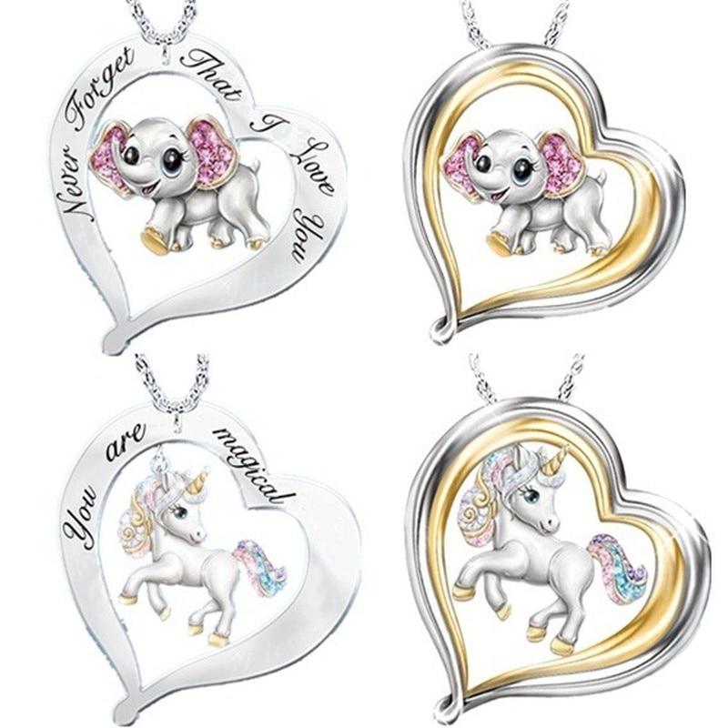 VILAGE Creative New Pattern Cute Animal Necklace 925 Silver Elephant Unicorn Heart Wedding Anniversary Gift