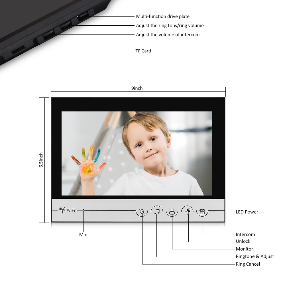 WIFI smart 9 inch Home video door phone intercom system Password Unlock HD Screen Intercom System enlarge