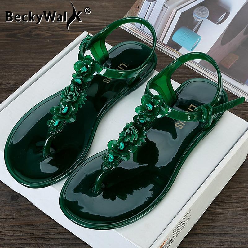 Nuevas sandalias planas para mujer de verano, zapatillas casuales de playa, zapatos de gelatina para mujer, chanclas de flores de PVC, zapatos de mujer, sandalias WSH3541