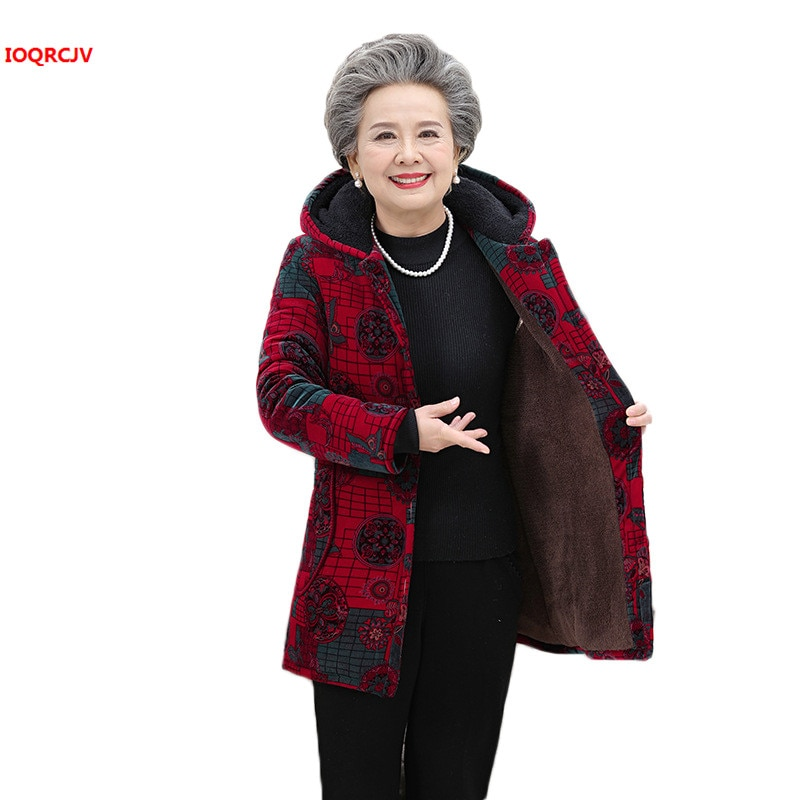 Middle-aged Women Down Cotton Jacket Autumn Winter Grandma Loose Warm Cotton Coat Old People Plus size Hooded Outerwear 5XL 1205