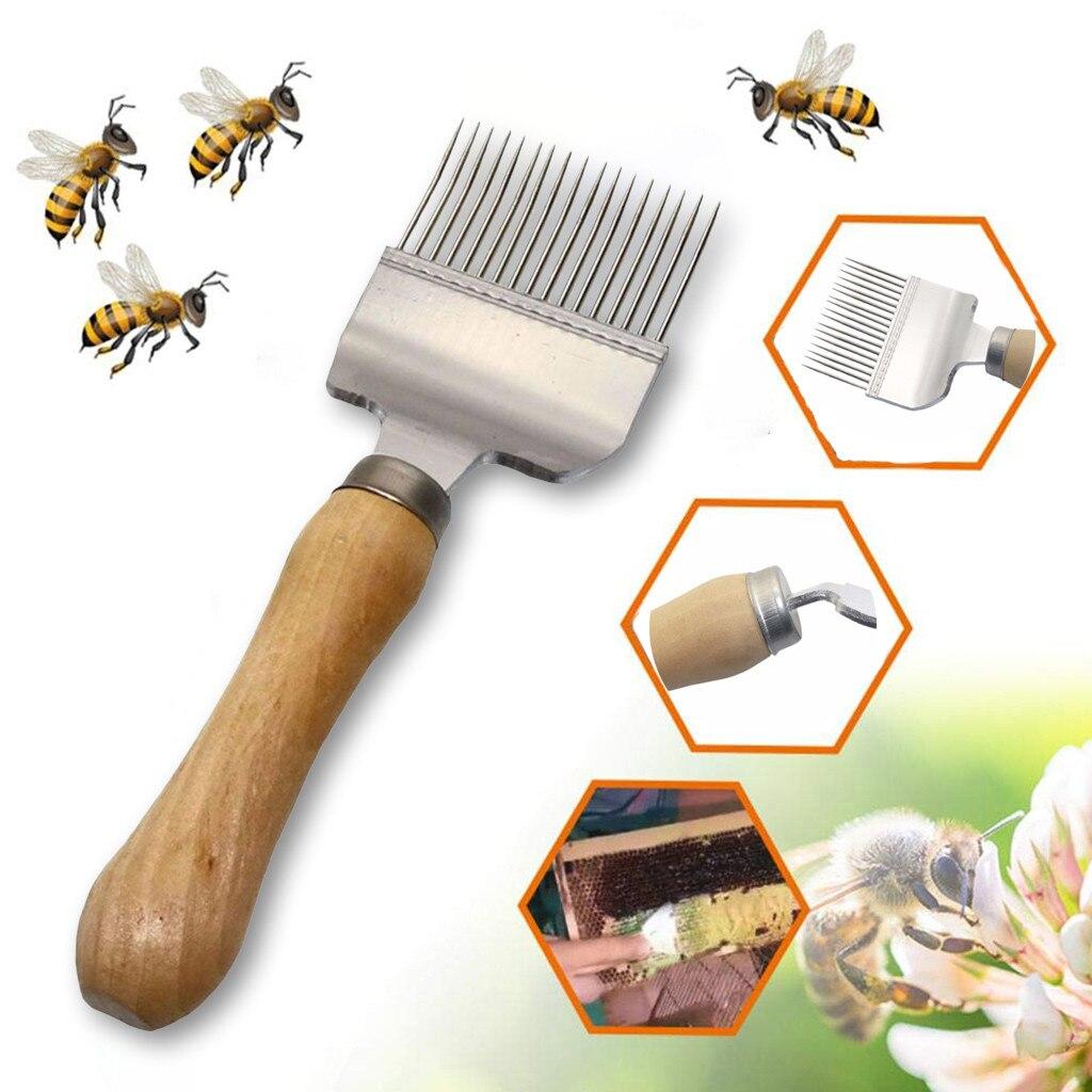 Новый из нержавеющей стали пчелиный улей раскачивающая вилка для меда Скребок Лопата расческа раскачивающая вилка Пчеловодство деревянная ручка инструмента нож # R25