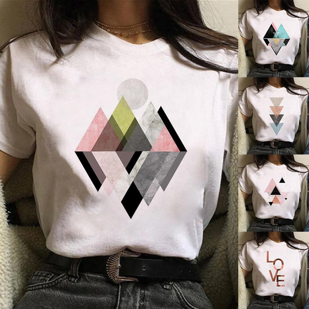 New TShirt top women Geometric figure printed t shirt Women Short Sleeve Summer Harajuku Fashion landscape T-shirt