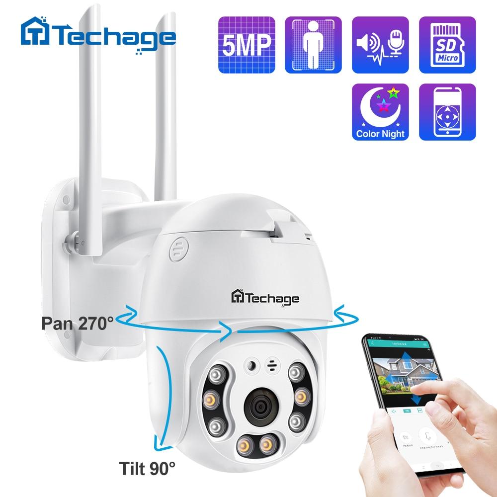 كاميرا تعمل بالواي فاي من Techage كاميرا IP بدقة 5 ميجابكسل PTZ مع قبة للسرعة 1080P كاميرا IP لاسلكية للأمان AI تعمل بالانترنت 2MP بألوان كاملة صوت في اتجا...
