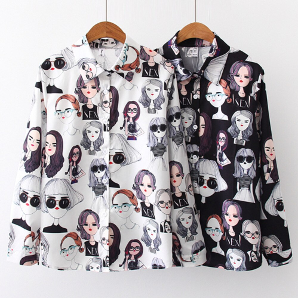 Retro Beauty Print Long Sleeve Blouse Chic Shirt Womens Tops And Blouses 2019 Full Sleeve Blouse Women Turn Down Collar Shirt