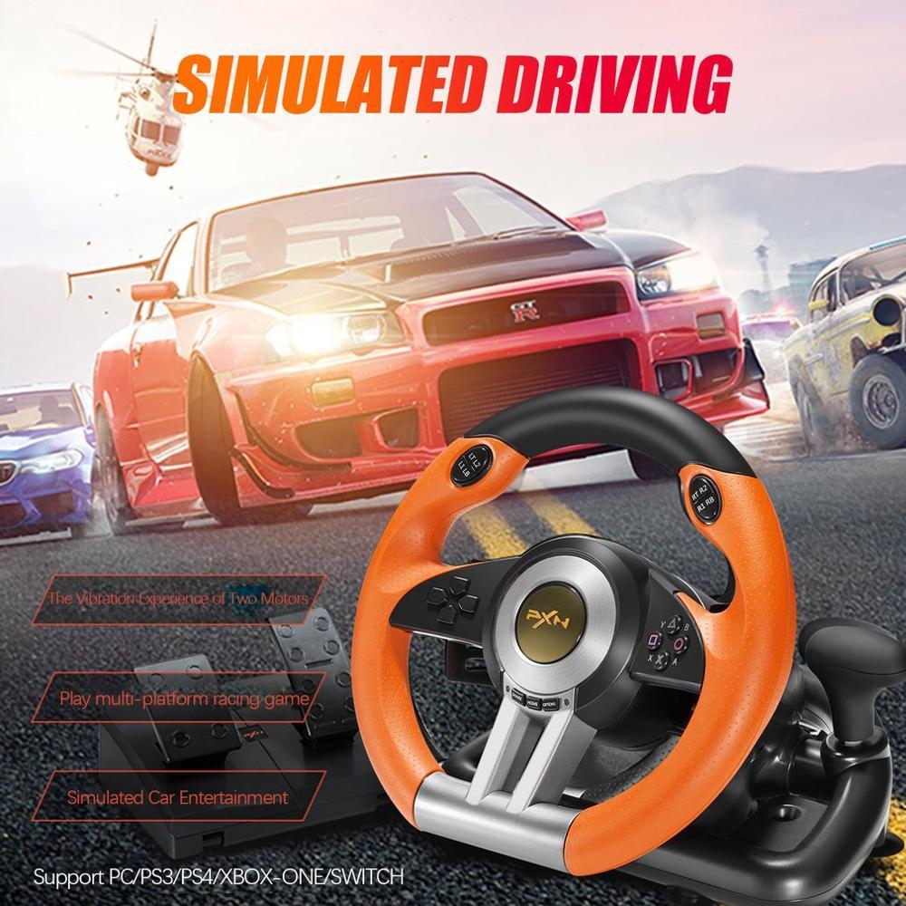 PXN V3II almohadilla de juego de carreras 180 grados volante vibración Joysticks con Pedal plegable para PS3 PS4 todo en uno