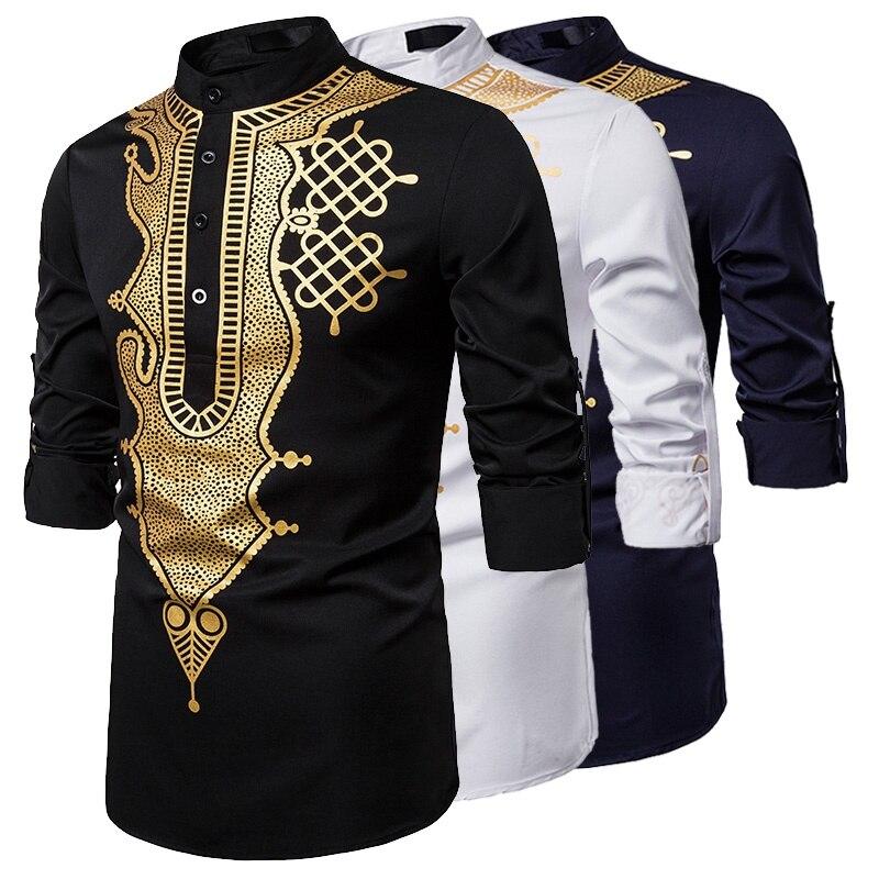 الرجال عادية كم طويل فاخر الذهب الأزهار طباعة هينلي قميص العرقية نمط الوقوف طوق الأفريقية Dashiki قميص