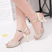 Women Sandals 2021 New Summer Shoes Woman Dress Shoes Bling Weddging Shoes Silver High Heels Pumps L