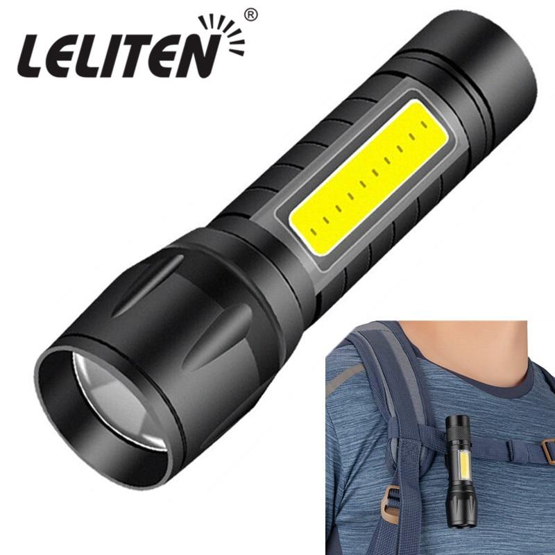 Usb recarregável ter construído na bateria portátil mini cob led zoom lanterna ao ar livre caça tocha