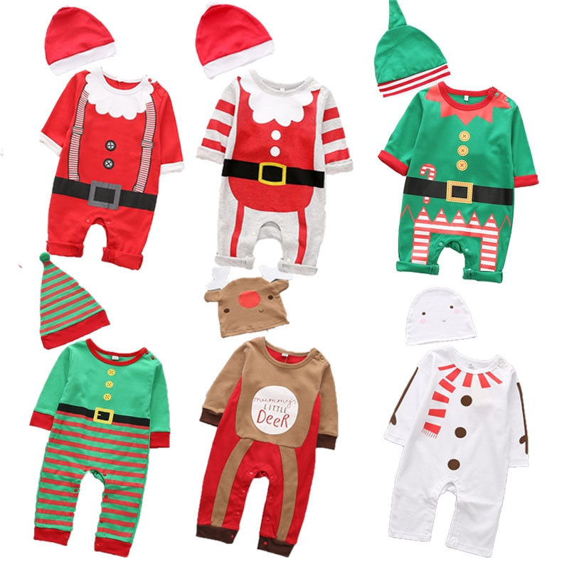 baby costume set 0 2y santa elf climb clothes sets boys gilrs christmas rompers overalls roupas santa claus jumpsuits and hat New Christmas clothes baby rompers Boy Girl Kids Romper Hat Cap Set santa claus baby costume Christmas Gift newborn