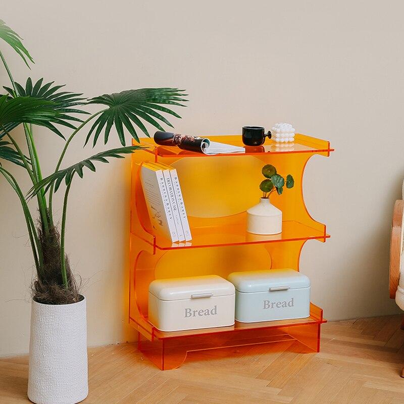 منتج جديد مصمم الأثاث اللون الاكريليك الجرف طبقة مزدوجة تخزين رف الكتب خزانة عرض الاستوديو