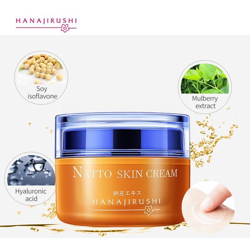 HANAJIRUSHI Natto Face Cream Firming  Brightening Skin Cream Anti-winkle Anti-age Day Cream Nigh Cream 55ml