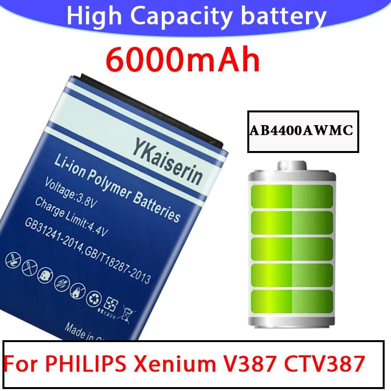 Batería recargable de alta capacidad 6000mAh AB4400AWMC para Philips Xenium V387 CTV387 Batería Del Teléfono móvil batería