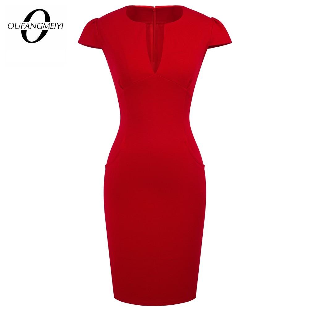 الصيف الساحرة مثير نمط المشاهير جيوب الموضة الركبة طول Bodycon سليم الأعمال غمد فستان الحفلات E521