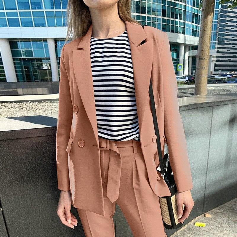 WEPBEL-طقم بدلة نسائي من قطعتين ، غير رسمي ، لون عادي ، عصري ، بدلة عمل ، خريف وشتاء