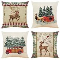 1pcs 2021 Pillow Case Santa Claus Print Old Man Sofa Bed Home Decor Pillowcase Bedroom Cushion Cover Merry Christmas 45x45 Cm