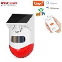 Wolf-Guard     systeme de securite domestique sans fil  Tuya  wi-fi  alarme solaire dexterieur  detecteur PIR clignotant  etanche  120db  controle par application