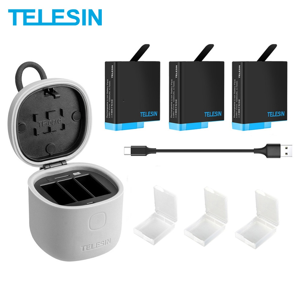 TELESIN 3PACK Battery 3 Slots Charger Set TF Card Reader Storage Charging Box for Gopro 8 Hero 8 7 Black Hero 6 Hero 5 telesin 3 way led battery charger 3 battery pack charging box type c cable for gopro hero 8 7 6 hero 5 black accessories set