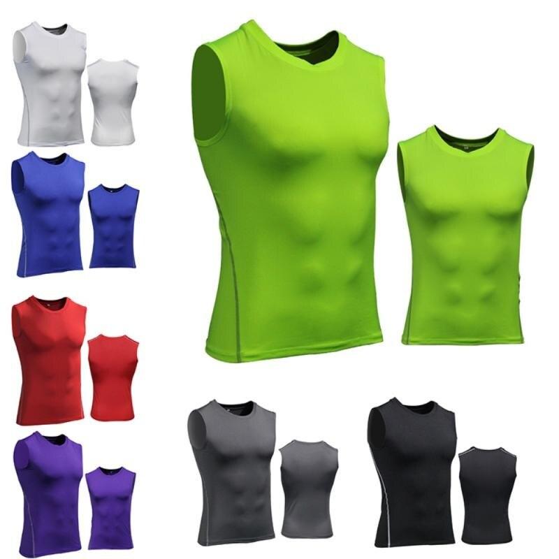Спортивная одежда для фитнеса, быстросохнущая одежда, топы для фитнеса, Эластичный компрессионный жилет для бега и тренировок, дышащие мужс...
