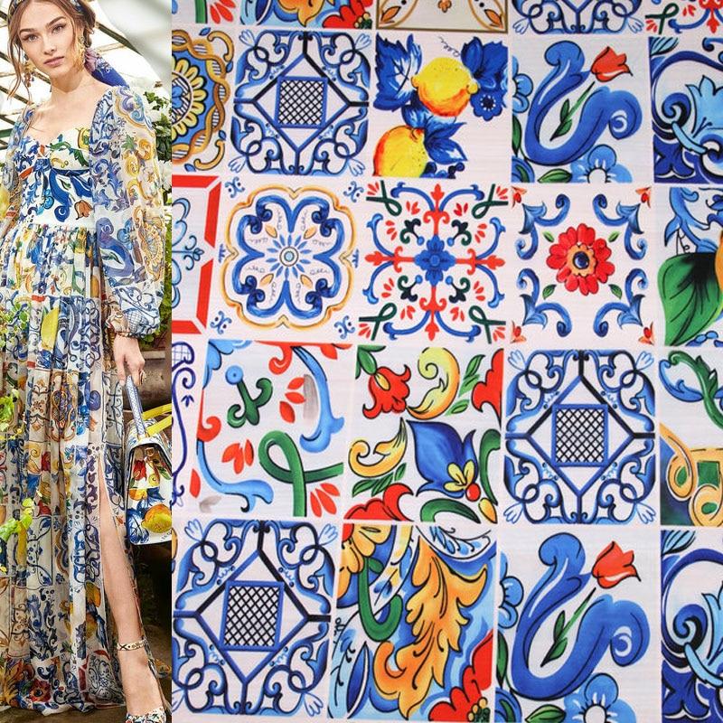 Tela de gasa fina de porcelana blanca y azul a la moda de 100x145cm para mujer, blusa para vestido de verano, costura de tela DIY