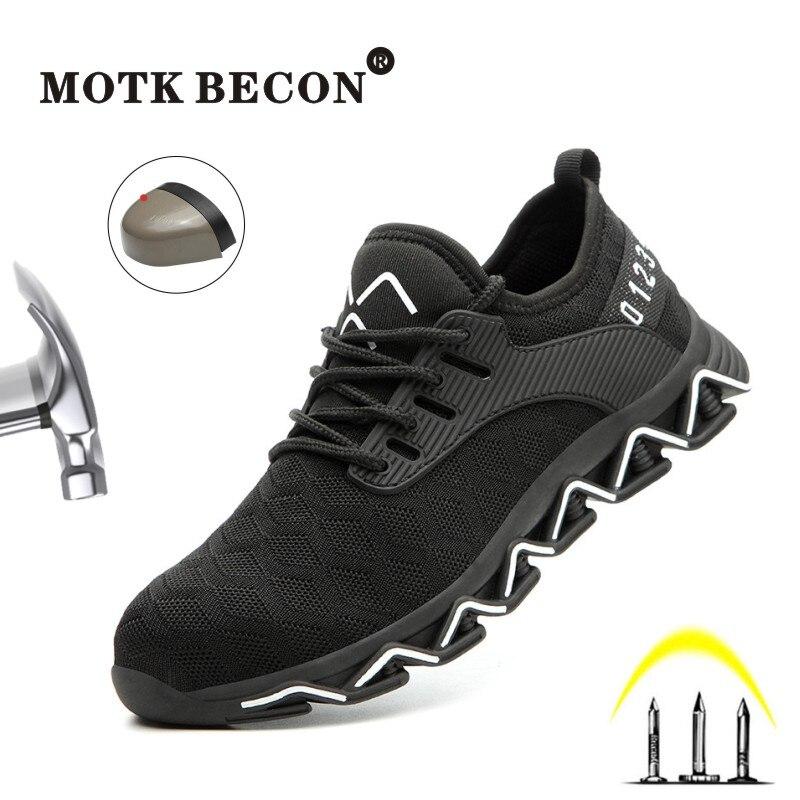 Motk tênis indestrutível ryder becon, sapato de segurança masculino para trabalho ao ar livre, seguro para segurança do dedo do pé, botas 906