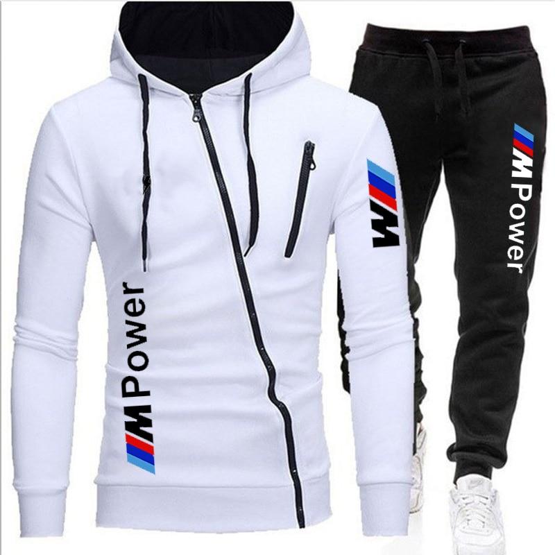 Zipper Hooded Sweatshirt Men Fashion BMW Spring Casual Patchwork Fleece Warm Hoodies Sweatshirts Male Streetswear Coat Jackets