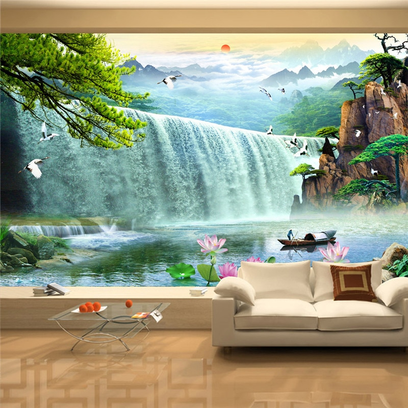 3d Wallcovering Wallpaper Modern Landscape Beautiful Scenery of Large Waterfall Home Decor Painting Wallpapers Wall Covering
