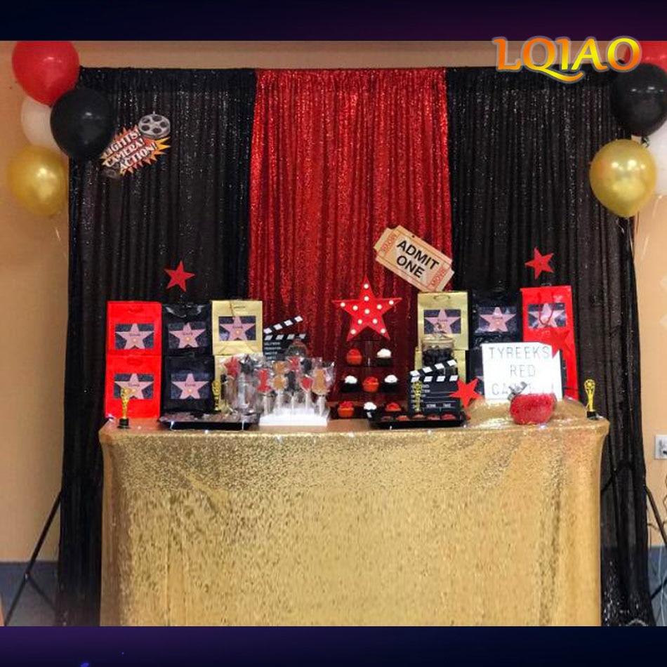 Perfectamente 10FTx10FT elegante negro Tela De Lentejuelas telón de fondo para fotomatón cortina de boda para Navidad/decoración de la boda
