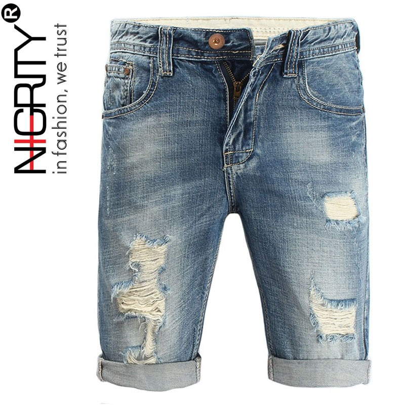 Only for Wholesales (not sell 1 piece)Fashion Brand Quality Mens Ripped Denim Shorts 100%Cotton Jeans Pant Big Size 28-44