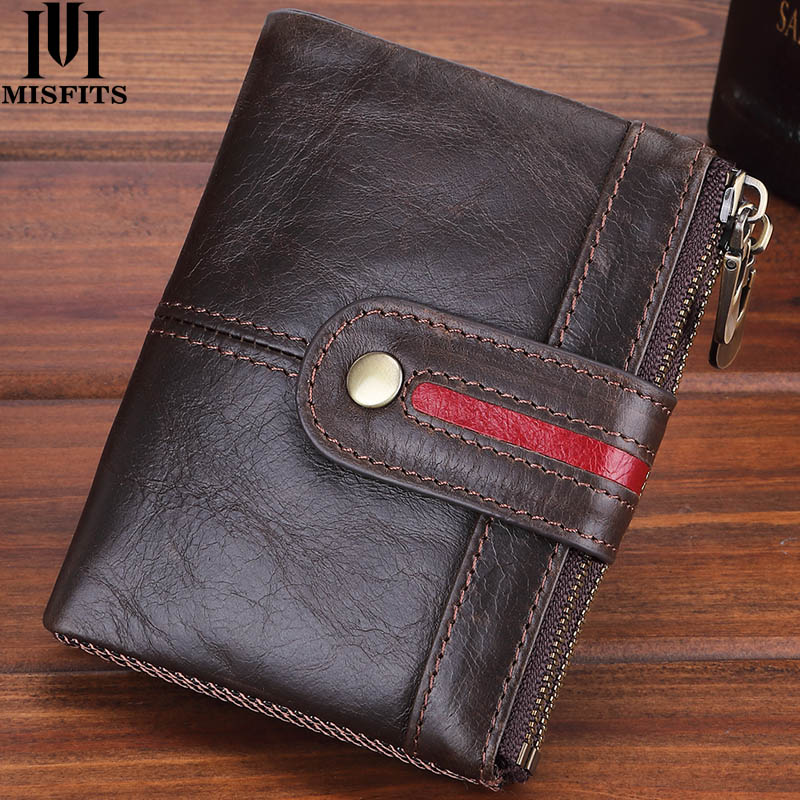 MISFITS Brand Designer Men Wallets Genuine Leather Short Coin Purse vintage Hasp Wallet 100% Cow Lea