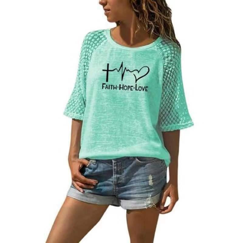 2020 Faith Hope Love camiseta de mujer de verano de manga corta, cuello redondo, camiseta Casual, camisetas de San Valentín, Tee-J046