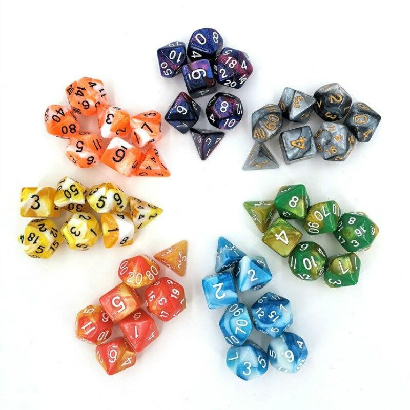 Juego de dados de 2 colores de 7 Uds con dados de colores mixtos Nebula Polyhedral para juegos de mesa RPG Dungeons and Dragons D4-D20 Party Family Game