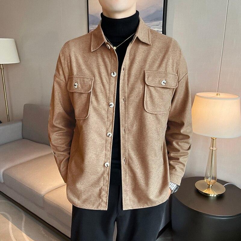 Мужская рубашка с длинным рукавом, тонкие куртки с несколькими карманами, повседневные и красивые мужские куртки, плотные теплые куртки для...