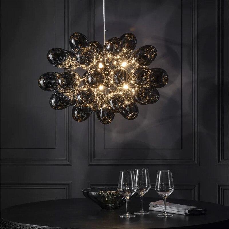 ما بعد الحداثة العنب شكل الزجاج الثريا الفاخرة المنزل إضاءة ديكورية غرفة المعيشة مصابيح تعليق للزينة نموذج المنزل مصابيح متدلية