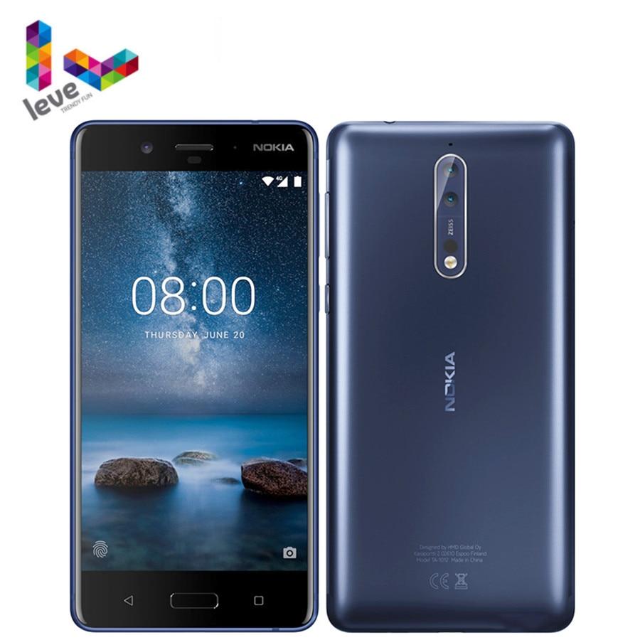 Перейти на Алиэкспресс и купить Оригинальный разблокированный сотовый телефон Nokia 8 TA1012, экран 5,3 дюйма, Восьмиядерный, 4 Гб ОЗУ 64 Гб ПЗУ, двойная тыловая камера 13 МП, 4G LTE, Android