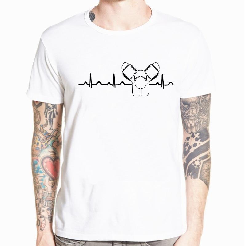 2019 nova camisa masculina t pescoço personalizado impresso t camisa moto guzzi batimento cardíaco greenheight masculina camiseta streetwear S-5XL
