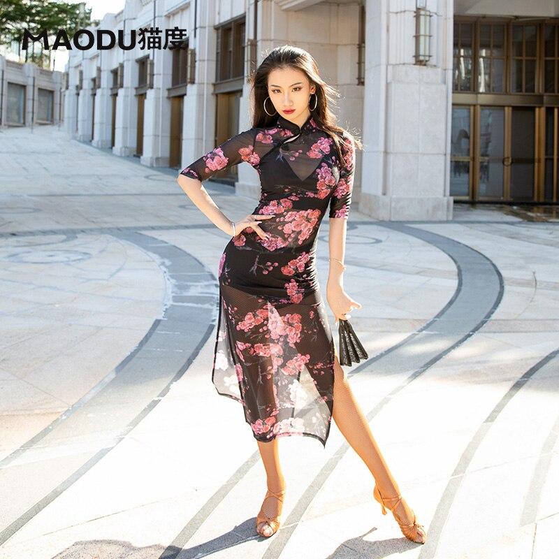 فستان قطعة واحدة مثير بياقة مدورة للنساء, فستان قطعة واحدة مثير بطباعة زهور على الطراز الصيني بأكمام نصف كم مناسب للحفلات والشفافة لعام 20125