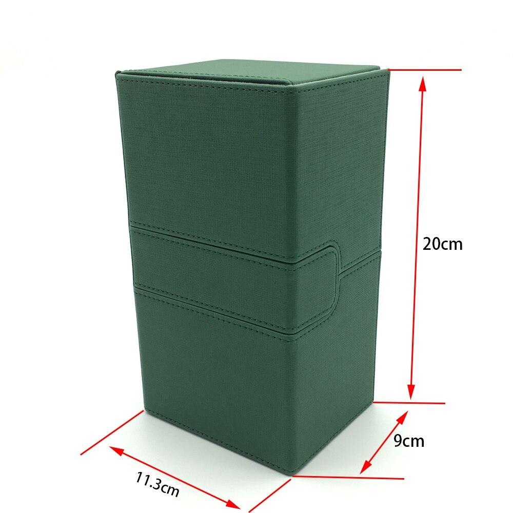 Tamaño grande Mtg Pokemon Yugioh Deck Box caja de tarjeta Deck Case Deck caja de tarjeta de juego de mesa: Color verde