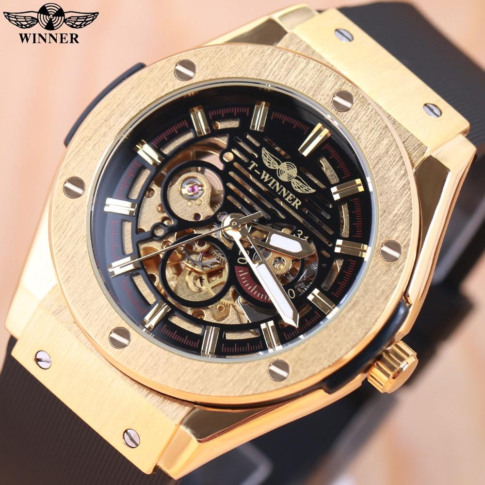 Vencedor dos Homens Relógios de Esqueleto Relógio de Pulso Mecânico Automático Relógio Montre Homme Luxe Masculino Luxo Marca Superior Fulgor 2021