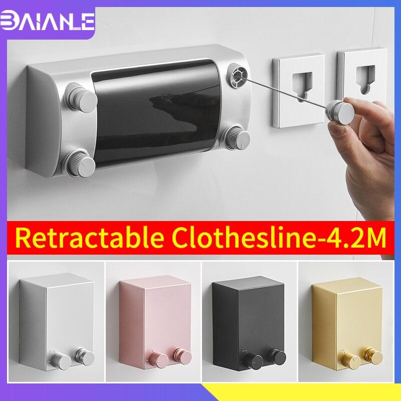 Retráctil tendedero interior tendedero al aire libre de plástico ABS balcón Invisible tendedero perchero para lavar ropa secador de doble cuerda