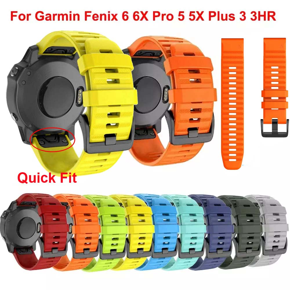 26 20 22mm Sport Silicone Watchband Wriststrap for Garmin Fenix 6X 6 6S Pro 5X 5 5S Plus 3 3HR  Easy Fit Quick Release wirstband