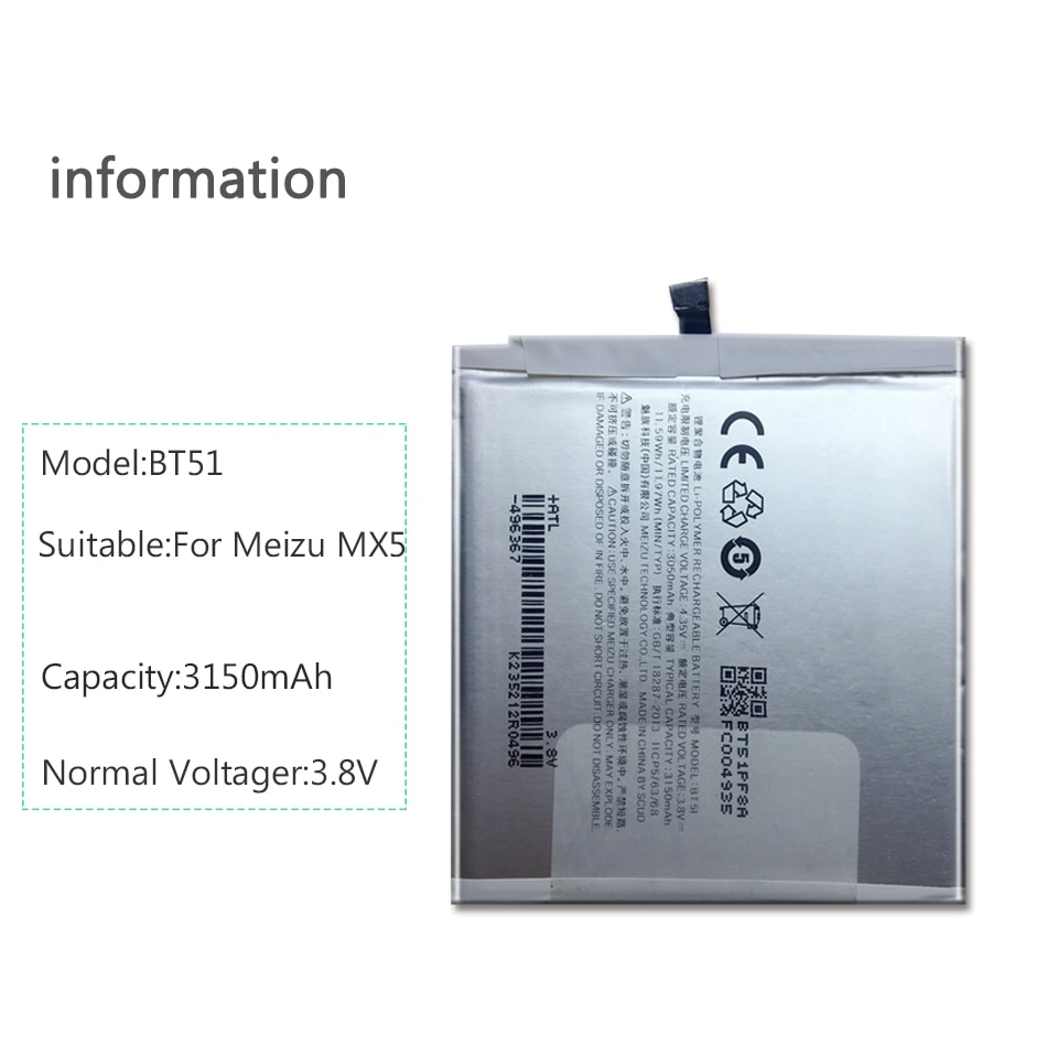 Batería BT-51 para teléfono móvil Meizu MX5, MX 5, BT51, BT, 51,...