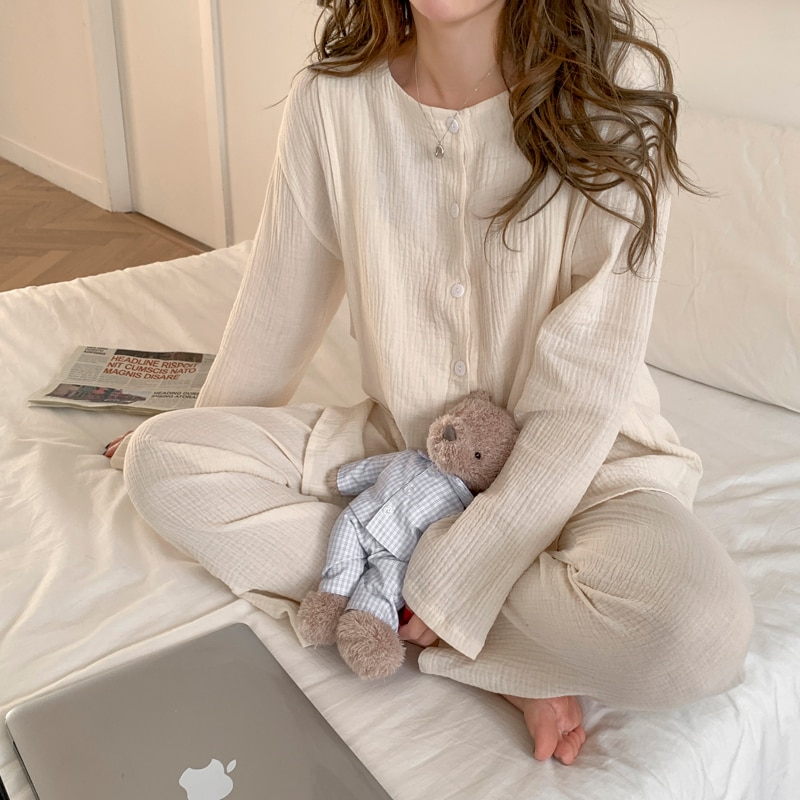 100% Cotton Thin Maternity Nursing Sleepwear Suit Plus Size Loose Sleep Lounge Wear Clothes for Pregnant Women Pregnancy Pajamas enlarge